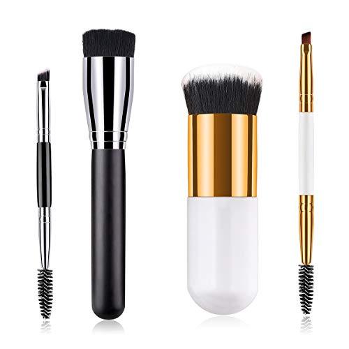 2pcs pinceau à poudre plate + sourcils et cils pinceaux maquillage pinceaux outils de beauté cosmétiques (Color : Black and silver)
