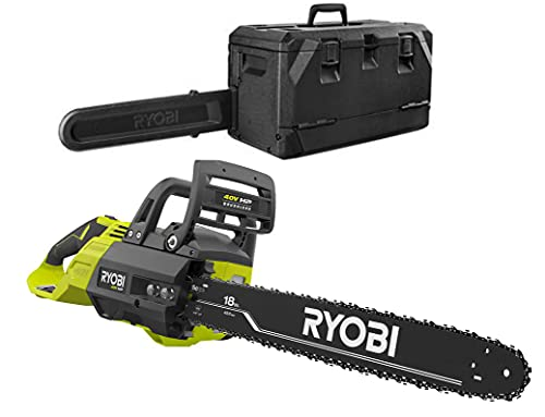 Ryobi 18 in. HP 40V Brushless Lithium-Ion Electric Cordless Battery Chainsaw + CASE (Tool-Only) BATTERY AND CHARGER NOT INCLUDED