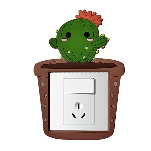 LNSTORE 8.6 * 8.6cm Cactus Dibujos Animados de la Sala de Dibujos Animados Decoración de la Pared 3D Silicone Switch Light Light Switch Socket Etiqueta de Pared Bonita decoración de interruptores