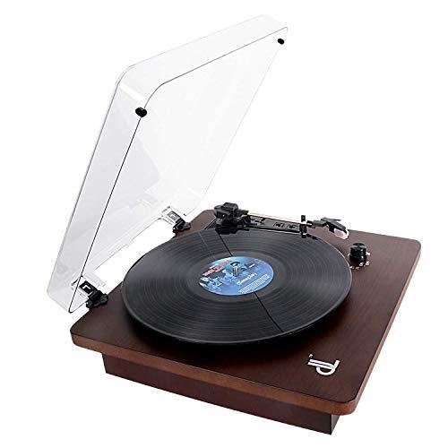 PC Tocadiscos, Giradiscos Vinilo de 3 Velocidades DLITIME Record Player 2 Altavoces Incorporados Portátiles, con Entrada Auxiliar/RCA/Rec/PH