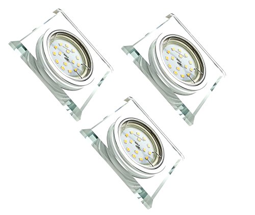Trango 3 conjunto Diseño LED empotrado Spot TG6729S-03GU5SD Focos empotrables, focos de techo, focos, espejo de cristal para baño, incluye 3x regulable, 5 vatios, bombilla Led de techo
