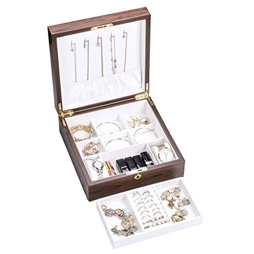 Gymqian Wooden Jewellery Box, Jewellery Organizer Detachable Bracelet Tray- 2-Layer for Women and Girls Earring Ring Necklace &Amp; Watch Organizer with Lock Hochwertig