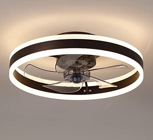 Ceiling Fan with Lights,19.7''LED Remote Control 3-Color Lighting 3 Wind speeds, Invisible Blades Flush Mount Ceiling Light, Enclosed Shell Low Profile Fan,Coffee Gold