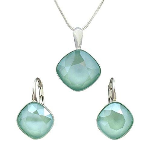 Crystals & Stones *SQUARE* Schmuckset *VIELE FARBEN* - Ohrringe und Anhänger mit Silberkette aus 92...