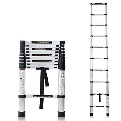 Corvids 2.0m (6.5 ft) Portable & Compact Aluminium Telescopic Ladder, EN 131 Certified, 7-Steps Foldable Multipurpose Step Ladder for Household Purpose
