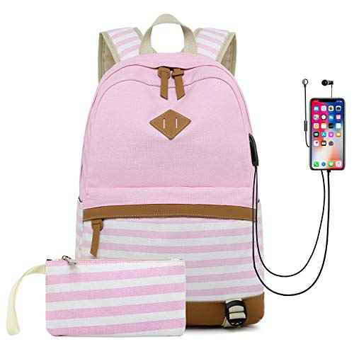 Zokrintz Women Canvas Bookbags 2pcs School Backpack Laptop Bags Schoolbag for Teens Girls