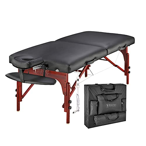 Master Massage Table Portable Professional Heated, 31 Inch Wide Memory Foam Massaga SPA Bed with Heat, Facial Bed Adjustable Height & Face Cradle, with Carrying Case(Black)