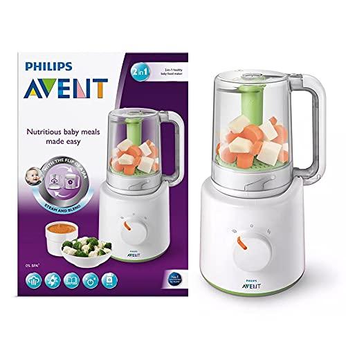 Philips Avent 2-in-1 Baby Mixer, Kombination Babynahrung Dampfgarer und gesunde Lebensmittel Maker