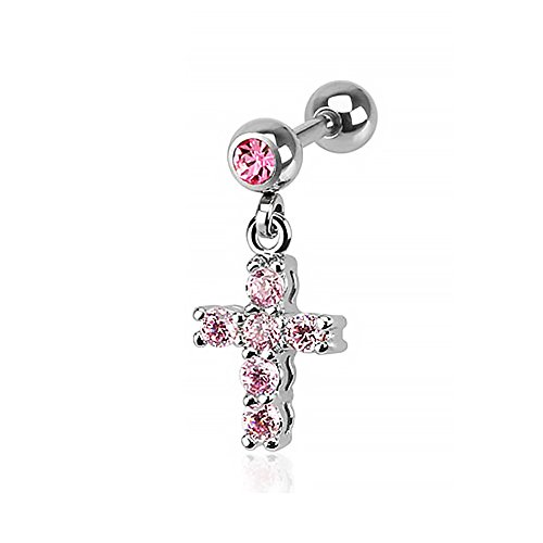 Autiga® Ohr Piercing Stecker Tragus Helix Cartilage Kreuz Anhänger Cross Barbell pink