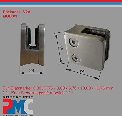 PMC Edelstahl Inox V2A für Rohr 42,4mm Glashalter Glasklemme Glass Clamp MOD:01; 8,76 mm