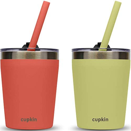 Stackable Stainless Steel Kids Cups for Toddlers EASY to Clean Set of 2 Powder Coated 8oz Vacuum product image