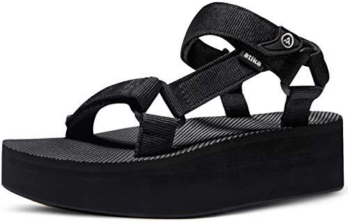 ATIKA Women's Islander Flatform Sandals, Outdoor Strap Walking Summer Sandals, Water Beach Sandals with Arch Support, Raised Islander(w215) - Black, 7