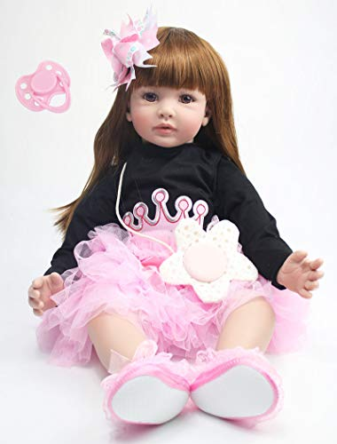 Angelbaby 24 inch Beautiful Long Hair Reborn Toddler Girl Dolls Realistic Silicone Reborns Confortable Touch Weighted Babies with Princess Dress for Kids Play House Toys Adults Collectibles