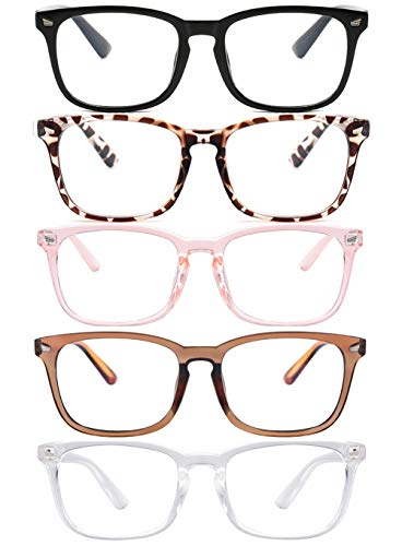 Blue Light Blocking Glasses,Square Nerd Eyeglasses Frame Anti Blue Ray Computer Game Glasses Anti Eyestrain & UV(5Pcs)