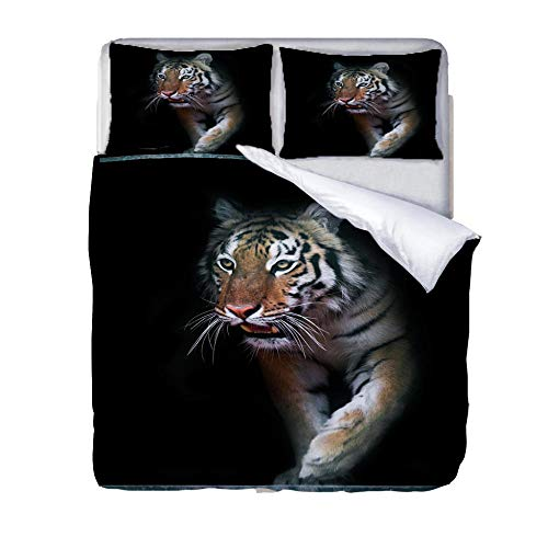 Printed Duvet Cover Double bed Black tiger animal Children's rooma and bedroom Bedding boy girl Soft 3 pcs set Easy Care Duvet Cover Set with Zipper Closure