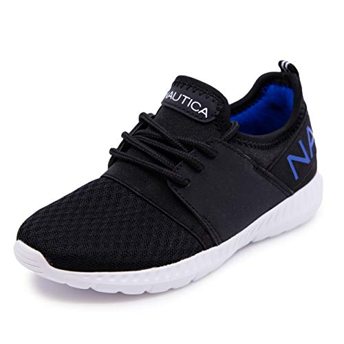 Nautica Kids Boys Lace Up Sneaker Comfortable Running Shoes -Kappil Youth-Black Air Mesh-1