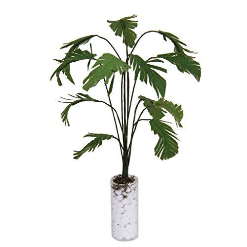 1/12 Grüne Bananenbaum im weißen Flasche Miniatur Puppenhaus Garten Zubehör
