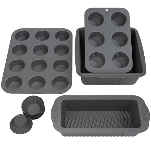 Olive's Kitchen Silicone Bakeware (16 Piece) - Metallic Charcoal Molds for Baking - Non-Stick, BPA Free Baking Sets - Bakeware Silicone Set Includes Loaf Pan, Cake Pan, Cupcake Liners, Muffin Pan