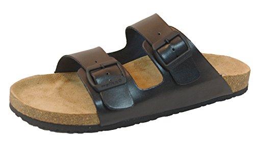 Herren Bio Clogs Tieffußbett Pantoletten Sandalen ECHTES Leder 2 Schnallen schwarz Gr. 41/42/43/44/45 (41)