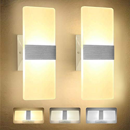 LED Wall Lights Indoor, 3 Color Temperature 7W Living Room Modern Acrylic Wall Lighting for Bedroom Pathway Corridor Stairs Balcony 2 Pack