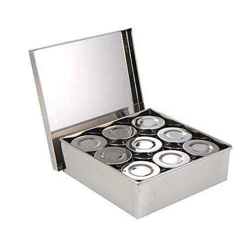 Yamybox 9//12 Pieces of Stainless Steel Magnetic Spice Jar Set Salt and Pepper Sprayer Seasoning Rack Seasoning Box Condiment Container,12pcs