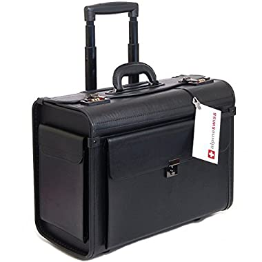 Alpine Swiss Rolling 17  Laptop Briefcase on Wheels Attache Lawyers Case Legal Size