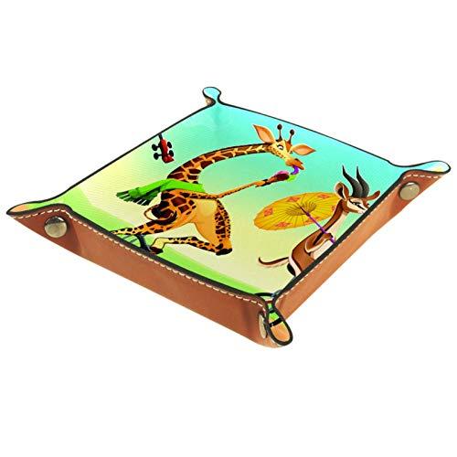 Giraffe Giraffe Einrad Leder Schmucktablett Aufbewahrung für Schlüssel, Telefon, Münzen, Uhren Schmuck Organizer Catchall Valet Tidy Trays