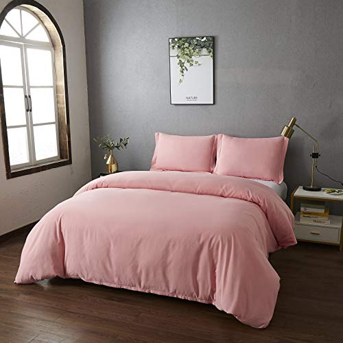 Best Season Bedding Duvet Cover Sets Queen Size with 2 Pillow Shams and Zipper Closure Super Soft Brushed Microfiber Comforter Cover - 3 Piece (PinkColor)