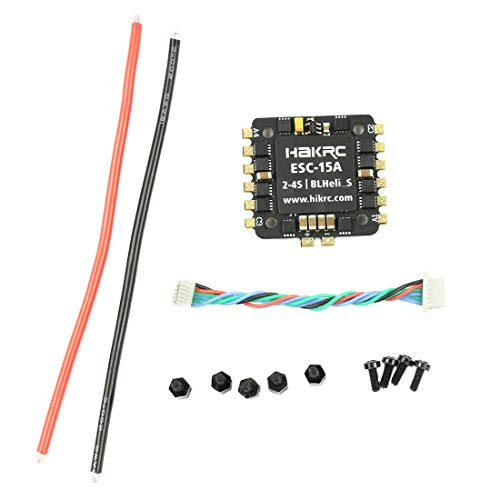 Hakrc 15A/20A/30A/35A/40A Blheli_S BB2 2-4S Dshot 4 in 1 ESC Speed Controller for 130 180 210 250 DIY FPV Racing Drone Multcopter Outdoor (15A 2-4S)