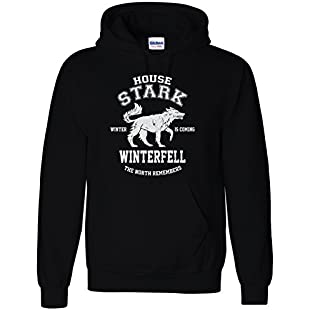 Game of Thrones Inspired House Stark North Remembers Hoodie Sweatshirt (Small)