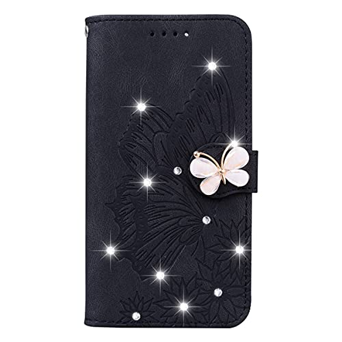 Blllue Funda de cartera compatible con iPhone XS, Glitter Bling Diamond Retro Butterfly PU Funda de cuero para iPhone XS - Negro