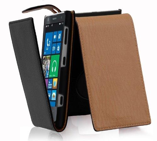 Cadorabo Custodia per Nokia Lumia 1020 in Nero Profondo - Protezione in Stile Flip di Similpelle Strutturata - Case Cover Wallet Book Etui