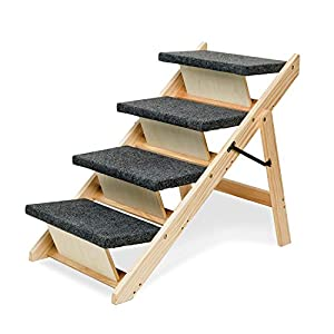 MEWANG Wooden Dog Stairs/Steps – Foldable 4 Levels Pet Stairs & Ramp Perfect for Beds and Cars – Portable Dog/Cat Ladder Up to 110 Pounds