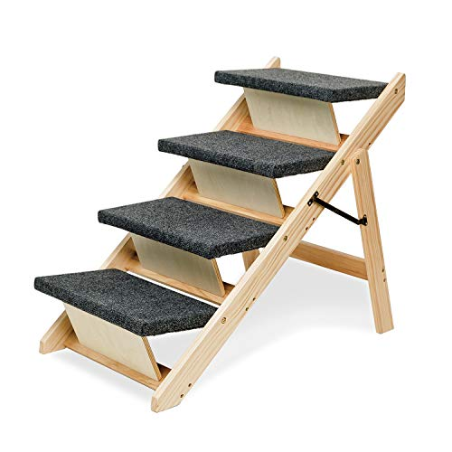 MEWANG Wooden Dog Stairs/Steps - Foldable 4 Levels Pet Stairs & Ramp Perfect for Beds and Cars - Portable Dog/Cat Ladder Up to 110 Pounds