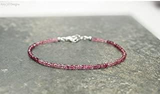 Pulsera de turmalina rosa y fina, color rosa, turmalina, plata de ley, joyería Ombre de piedras preciosas de 7 pulgadas.