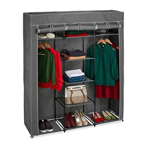 Relaxdays Stoffschrank mit Kleiderstange & 9 Ablagen, HxBxT: 172x147x43cm, Kleiderschrank mit Reißverschluss, anthrazit