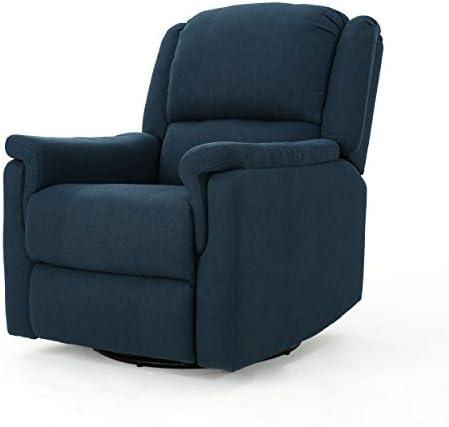 Best Christopher Knight Home Jennette Tufted Fabric Swivel Gliding Recliner, Navy Blue / Black