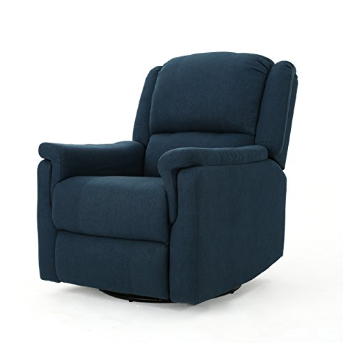 GDF Studio Jemma Tufted Fabric Swivel Gliding Recliner Chair (Navy Blue)