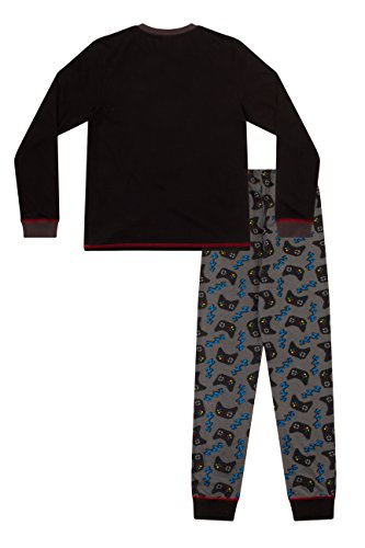ThePyjamaFactory Boys Eat Game Sleep Controller Long Pyjamas, Black, 15-16 Years