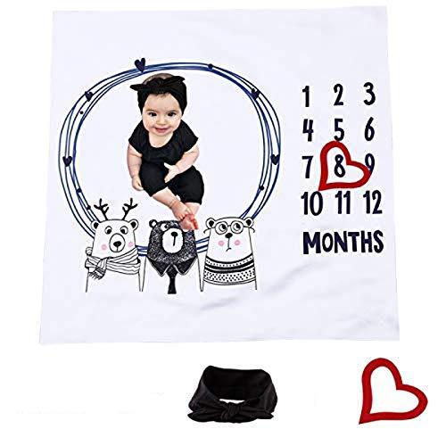 XingYue Direct Swaddle Baby Couverture mensuelle Milestone, Bébés Nouveau-nés 0-12 Mois Photographie Toile de Fond Photo Prop Cadre de Bonus avec Bandeau Bowknot Inclus (100 * 100cm)