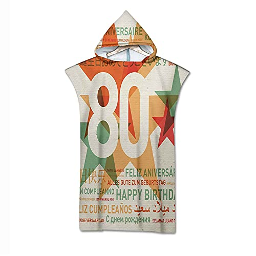 80th Birthday Hooded Beach Bath Towel, 80 Years Old Party with Universal Happy Birthday Best Wish Microfiber Children Beach Bath Swimming Hooded Towel for Kids Boys Girls Toddler Age 7 to 13 Years