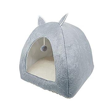 ZhiTianGroup Pliable Cat Bed Location Warming Maison d'intérieur avec Cat Amovible Matelas Puppy Cage Lounger Sofa nid de Chat (Color : Gray with The Ball, Size : L 43CMx43CMx46CM)