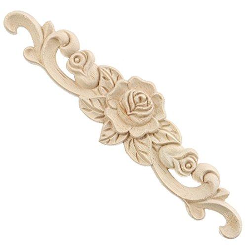 Pinji Holzschnitzerei Applique Holzschnitzerei Möbel Rosen-Blumenmuster Deko Europäischer Stil Holzapplikation 30 * 7CM