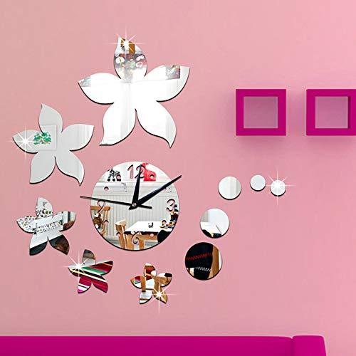 Lanceasy 11pcs / Set Superficie del Espejo en Forma de Etiqueta de la Pared Arte Floral Vinilos Decorativos para el hogar
