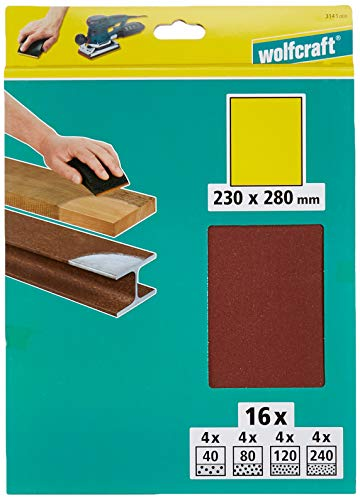 Wolfcraft 3141000 16 Bogen Super-Schleifpapier Korn 40,80,120,240; SB-verpackt 230 x 280