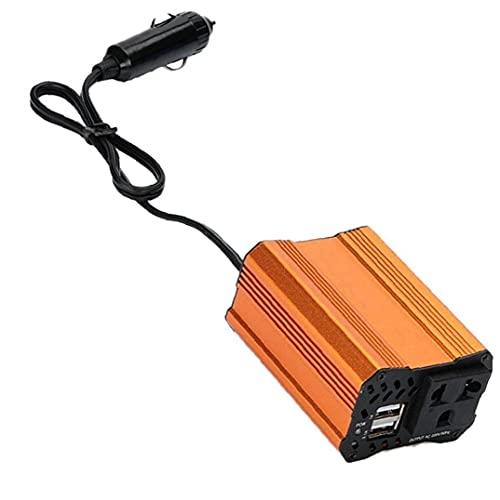 Tuimiyisou Convertidor De AC Automotriz 12v a 110v 220v con Adaptador De Cargador De Coche USB Dual Naranja