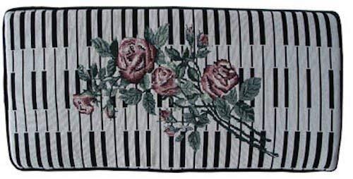 Keyboard and Rose Piano Bench Cushion Pad 14' X 29'