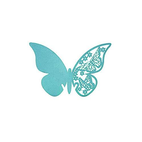 aoory 50 Tarjetas con Forma de Mariposa para Escribir el Nombre de los comensales de una Boda, Colocar en Copas de Vino