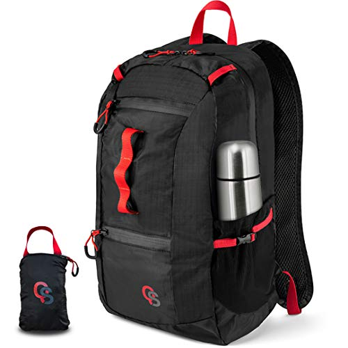 Packable and Foldable Lightweight Hiking Daypack- 22L Backpacking Water Resistant Travel Bag for Men and Women - Ultralight Carry On for Beach or Emergency – Waterproof 210D Nylon Collapsible by QS USA