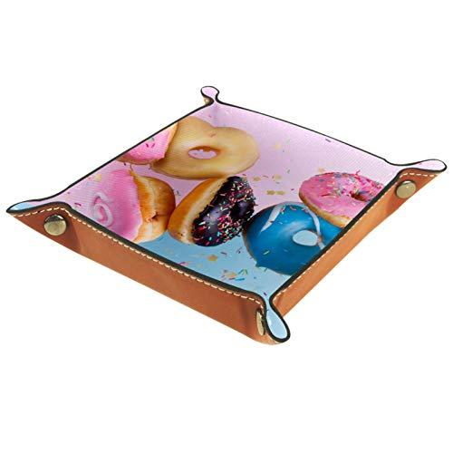 Bandeja de valet, organizador de escritorio, caja de almacenamiento, donas voladoras de cuero en bandeja de recogida azul y rosa para uso doméstico